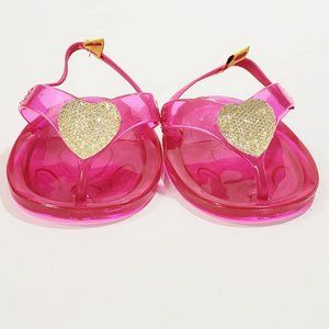 Build-A-Bear Jelly Shoes Pink Gold Sandals Fuchsia